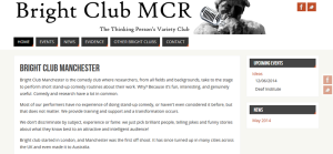Screenshot of bright club mcr website