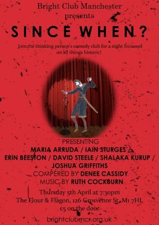 "Poster for ""Since When?"" A figure from the Bayeux Tapestry is doing stand-up comedy"