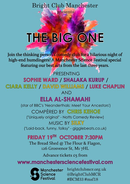 Poster for The Big One. Lists full line-up, including Ella Al-Shamahi, Chris Kehoe and Silky.